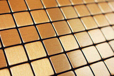 Sample of  Golden Brushed Metal Particles Kitchen/Bath Mosaic Tile Self Adhesive