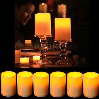 10X Flameless Resin Pillar LED Candles Flickering Light Battery Operated Timer