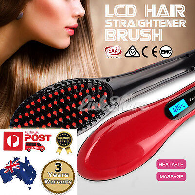 OZ Sale 2016 LCD Ceramic Hair Straightener Brush Hair Straight Comb Professional