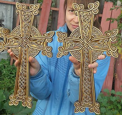 Large Wooden Carved Cross alder wood with antique gold paint. Orthodox.