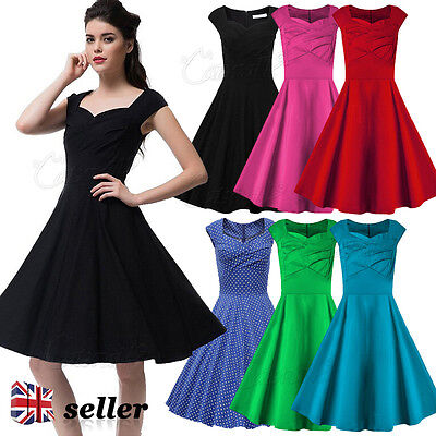 Womens Vintage 1950s 60s Dress Retro Rockabilly Evening Party Swing Dress V Neck