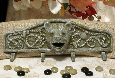 Cast Iron GRIZZLY BEAR 4-Hook WALL HOOK COAT RACK TACK HAT LEASH RACK Sage/Grey