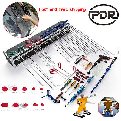 Paintless Dent Repair PDR Tools Push Rods Hail Puller Lifter Tail Hammer 115pc