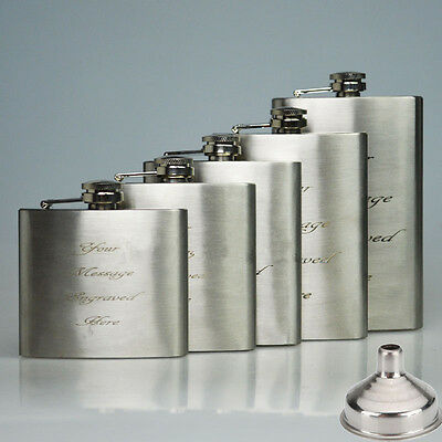 Personalised Engraved Stainless Hip Flask Whisky Holder Pocket Gift + Funnel