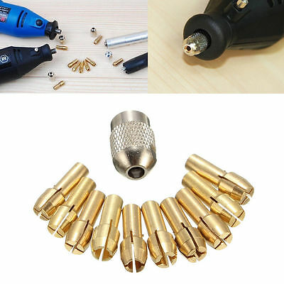 10X 0.5-3.2mm 4.3mm Shank Brass Drill Chuck Collet Bits For Rotary Tool