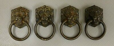 Lot of 4 Lion Head Drawer Pulls Antique