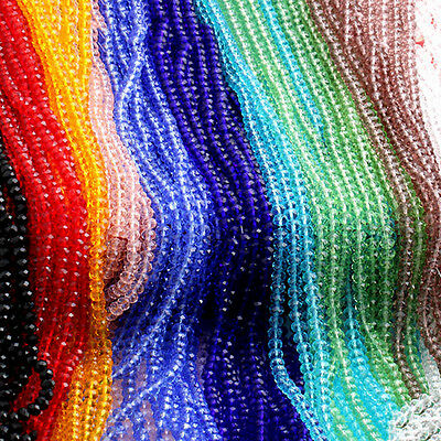 4/6/8/10mm Rondelle Faceted Crystal Glass Loose Beads Diy Findings Useful New