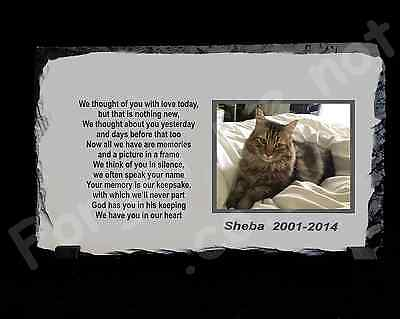 Pet Dog Cat Personalised Photo Memorial Slate Plaque with poem • EUR 14,19