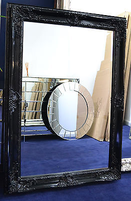 Glossy Black Large Bevelled Wall Mirror & Frame, Antique,110cm x 80cm