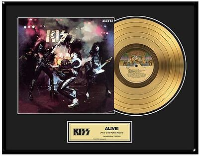 KISS Alive! Limited Ed. Framed 18X24 24KT Gold LP Collection/2500