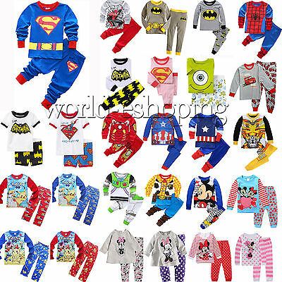 0-10Y Kids Baby Boys Girls Cartoon Sleepwear Casual Nightwear Pj's Pyjamas Sets