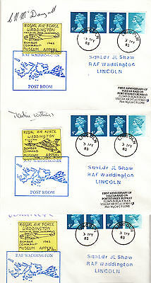 1983 RAF Vulcan covers x3 signed BLACK BUCK pilots REEVE MCDOUGALL WITHERS