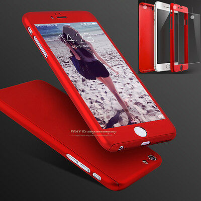 Hybrid 360° Shockproof Case Tempered Glass Hard Cover For Apple iPhone 6s 7 Plus