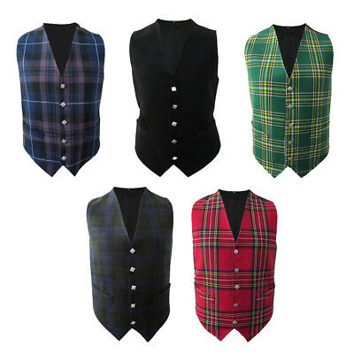 Tartanista Scottish/Irish Tartan Waistcoats/Vests - 5 Plaids - Sizes 36 - 58
