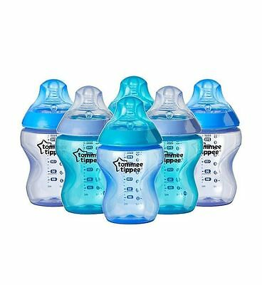 6xTommee Tippee Closer to Nature 260ml Colour my world Blue Baby Feeding Bottles