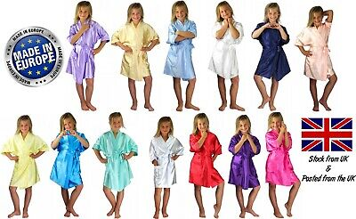 Children's Personalised Coloured Satin Silky Wedding Robe / Dressing Gown Kids