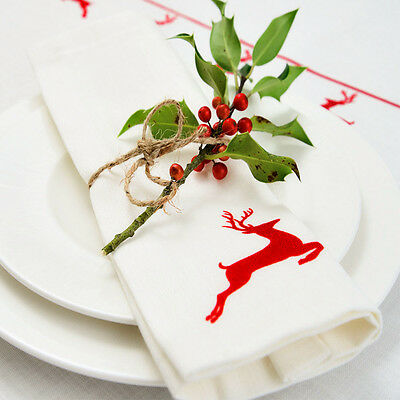 Luxurious Designer Christmas Napkins 100% Cotton Made In UK Vintage Red Stag