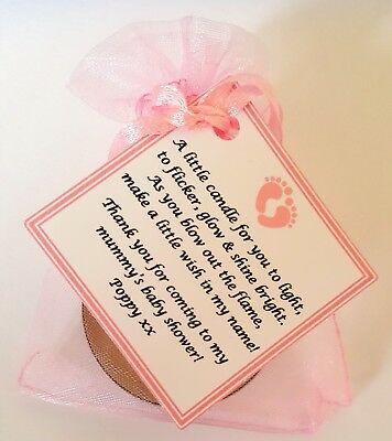 1-60 BABY SHOWER FAVOURS WITH VANILLA CANDLE -Can be personalised
