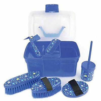 Lincoln Star Pattern Grooming Kit - Navy - Horse Equestrian Grooming Kits