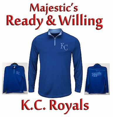 K.C. Royals Majestic Ready & Willing 1/4 Zip Pullover Fleece Shirt NWT $55R