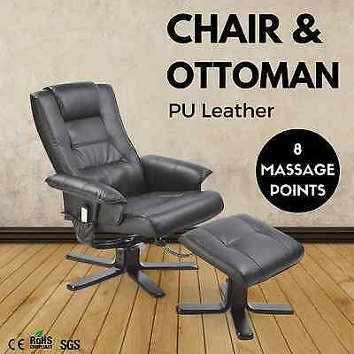 8 Point Massage Chair Ottoman PU Leather Lounge Recliner Couch Armchair BLACK