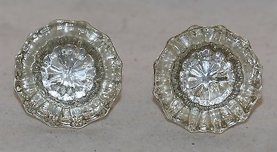 "Vintage Glass & Brass Knobs 12 Point Fluted 2"" in diameter Group of 2 VGC"
