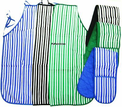 100% Cotton Quilted Double Oven Gloves & Apron Padded Kitchen Holder Baking Mitt