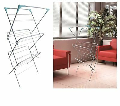 Clothes Airer 3 Tier Laundry Dryer Concertina Indoor Outdoor Patio Horse 26 Bars
