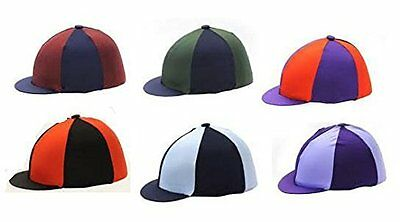 Hy Two Tone Lycra Silks - Green/Navy - Horse Equestrian Riding Hat Covers