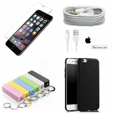 iPhone 6 bundle TEMPERED GLASS lighting 1M usb charger POWERBANK ultra thin case