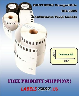Continuous Labels Compatible w/ Brother® - 1-200 Rolls DK-2205 - LOWEST PRICES!!