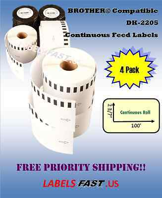 4 Rolls 62mm CONTINUOUS Compatible for Brother DK2205 Labels  for QL-700 QL-500