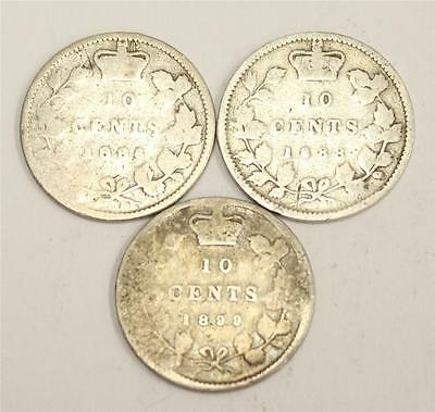 1886 1888 & 1899 s9 Canada 10 Cents AG condition