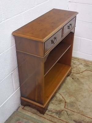 Yew Wood Hall Phone Bookcase / Table, 2 Drawers Over Adjustable Shelf