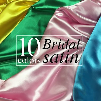 "Bridal Satin Fabric Silky Poly 60"" Wide Heavy Wedding Dress Drapery By The Yard"