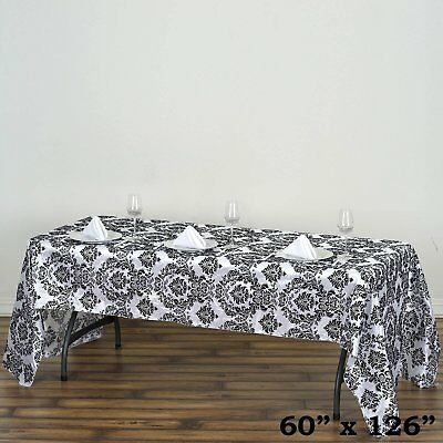 "60x126"" Black Flocking Damask Tablecloth Wedding Banquet Party Décor"