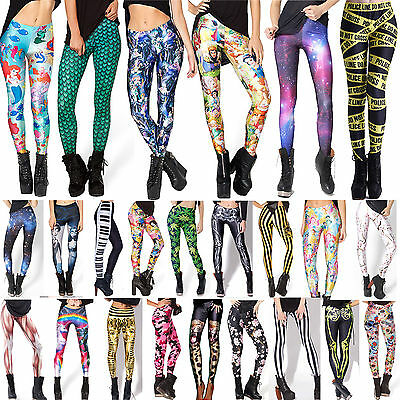Sexy Womens 3D Printed Skinny Stretch Leggings High Waist Pencil Pants Trousers