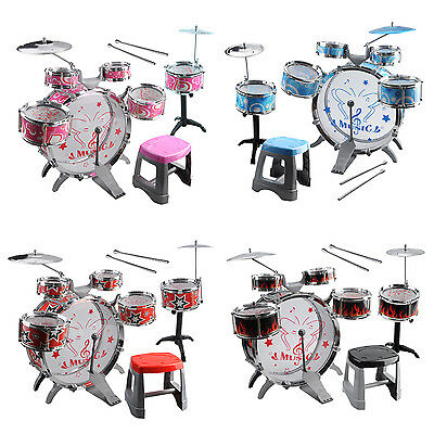 1 Set Kids Drum Kit Musical Band Playset Chair Cymbal Children Kids Toy Gift SP