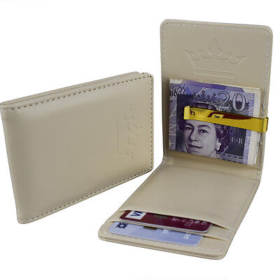 Mens Cream & Gold Stainless Steel - Money Clip Wallet - ID Card Cash Holder Gift