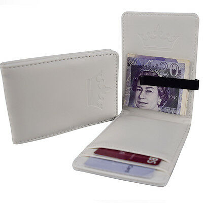 Mens Pure White & Black Stainless Steel Money Clip - Wallet ID Card Cash Holder