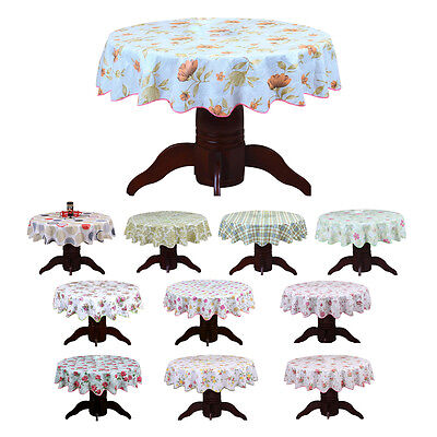 Round Cloth PVC Plastic Table Cover Flowers Printed tablecloth Waterproof SP