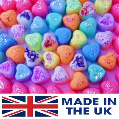25 MINI HEART FIZZY BATH BOMBS 10 LUSH SCENTS  Valentine's Gift Romantic SALE