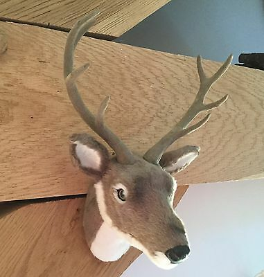 Furry Wall Stag Head Reindeer Bust Felt Antlers Trophy Christmas Decoration Fur