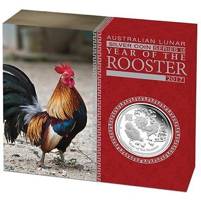 Australian Lunar Series II 2017 Year of the Rooster 1oz Silver Proof Coin