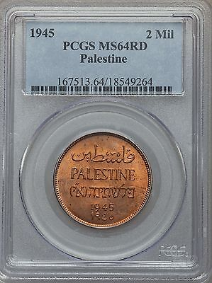 1945 Palestine 2 Mil Mils PCGS MS 64 RD Very Scarce In Full Red
