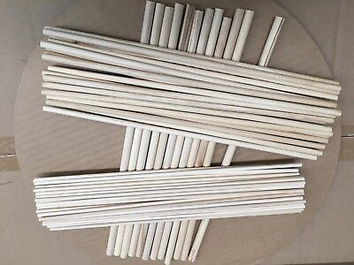 36pcs  Assorted Wooden Craft Sticks - Pole Rods-Natural Colour -30.5cm in Lenght