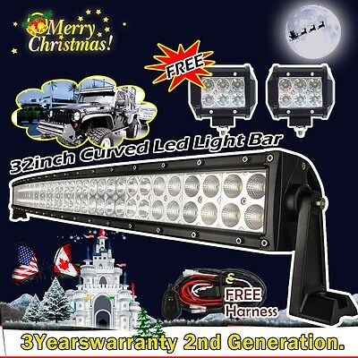 """32inch Curved Led Light Bar +2X 4"""" CREE Pods Flood Offroad Truck SUV ATV Jeep 30"""