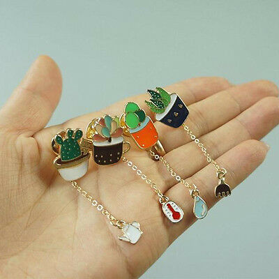 Fashion Women Succulent Potted Cactus Cartoon Brooch Pins Pendant Badge Jewwlry