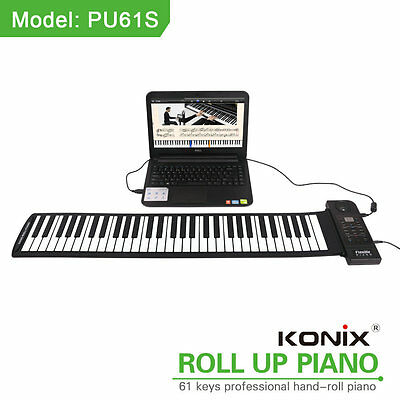 PU61S 61 Keys Flexible Roll up Piano Keyboard Digital Soft Electric Music Gifts