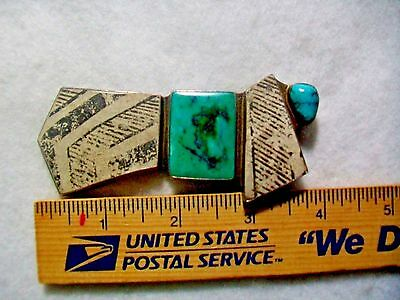 ANCIENT Native pot/shards Navajo signd Antique 3 7/8 Sterling Turquoise pendant